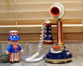 Vintage 1973 Western Bell Stars Stripes Candlestick Phone, Rotary Dial, Patriotic Red, White and Blue, Perfect 4th of July Decor