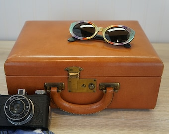 Vintage 1950s Brown Faux Leather Train Case with Mirror and Brass Furnishings