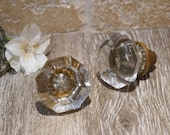 Antique 1920s-1930s Octagon Shaped Glass Door Knob Pair with Brass Base, 2 1 4 quot
