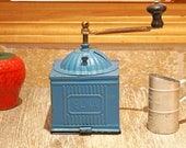 Vintage 1930s - 1940s Elma Blue Tin Coffee Grinder, with Bottom Opening Drawer, Cast Iron Handle, Rustic, Farmhouse Kitchen Decor