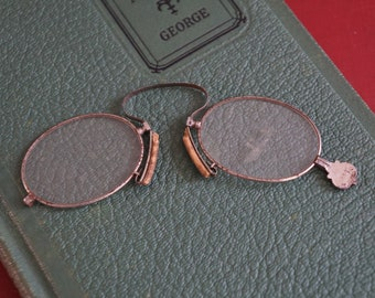 0c7a34f3a94 Antique Early 1900s Silver Pince Nez Eye Glasses with Cork Nose Piece and  Screw Construction Marked 4200