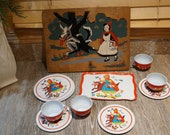 Vintage 1950s Complete Tin Litho Little Red Riding Hood Tea Set (13 pieces) Plus 1940s Wood Little Red Riding Hood Puzzle (For Display Only)
