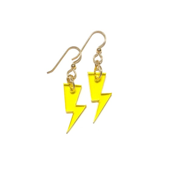 Yellow Lightning Bolts Acrylic Earrings Etsy