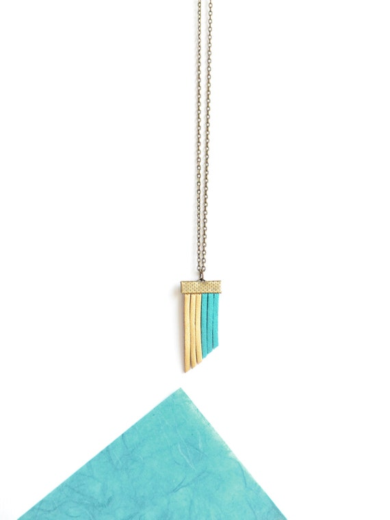 Handmade Accessories Turquoise /& Gold Vegan Leather Fringe Jewelry Colorful Suede Necklace