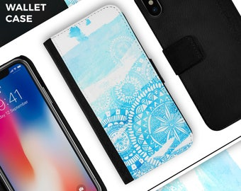 Vivid Blue Abstract Washed - Leather Folding Wallet Case For the Apple iPhone and Samsung Galaxy Devices