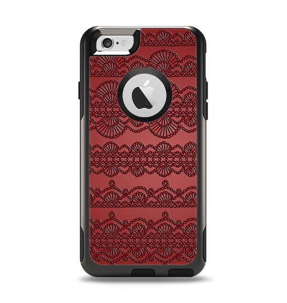 The Dark Red Highlighted Lace Pattern Apple iPhone OtterBox  4aa958b1f