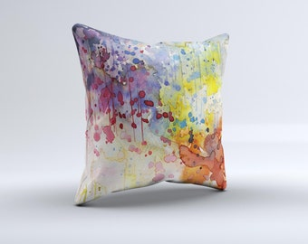 The WaterColor Grunge Setting ink-Fuzed Decorative Throw Pillow