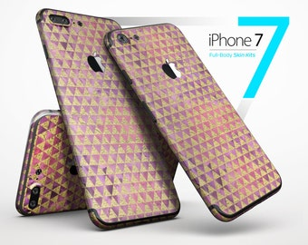 Micro Golden Triangles Over Pink Fumes - Skin Kit for the iPhone X, 8/8 Plus, 7/7 Plus, 6/6s Plus, 5/5s/SE, Galaxy Note 8, S8 & More