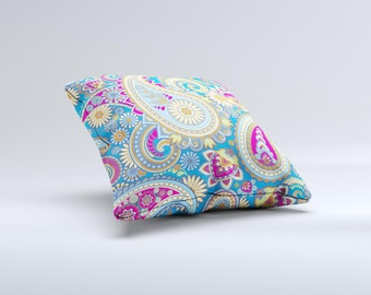 The Blue & Pink Layered Paisley Pattern V3  Pillow ink-Fuzed Decorative Throw Pillow