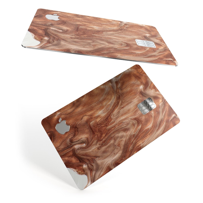 Modern Marble Copper Metallic Mix V7 Premium Protective Decal Skin-Kit for the Apple Credit Card