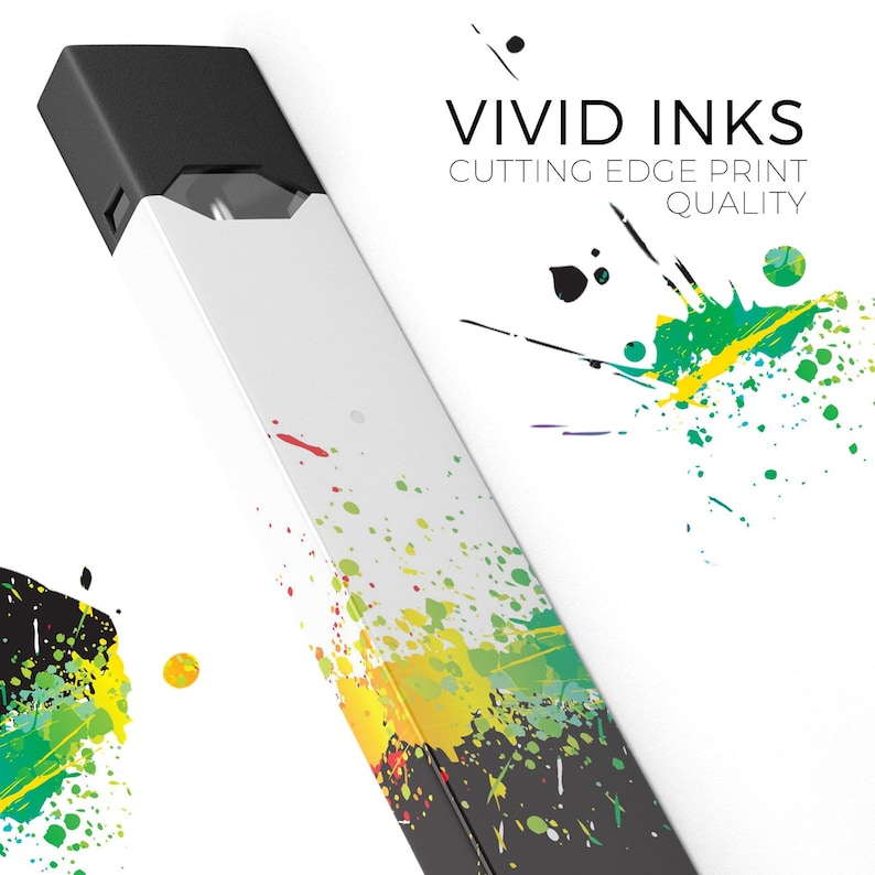 Rainbow Paint Spatter Premium Decal Protective Skin Wrap Sticker Compatible With The Juul Labs Vaping Device