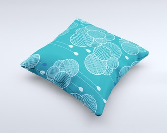 The Teal Abstract Raining Yarn Clouds  ink-Fuzed Decorative Throw Pillow