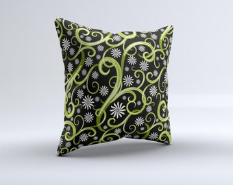 Green Floral Swirls on Black ink-Fuzed Decorative Throw Pillow