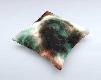 The Dark Green Glowing Universe ink-Fuzed Decorative Throw Pillow
