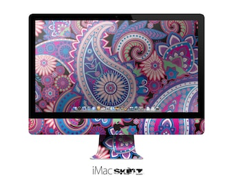 The Vibrant Purple Paisley V5 Skin for the Apple iMac 27 Inch Desktop Computer
