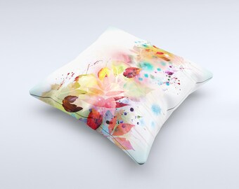 Neon Colored Watercolor Branch ink-Fuzed Decorative Throw Pillow
