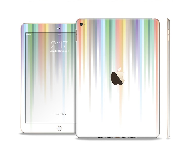 All Models Available The Faded Pastel Color-Stripes Skin Set for the Apple iPad