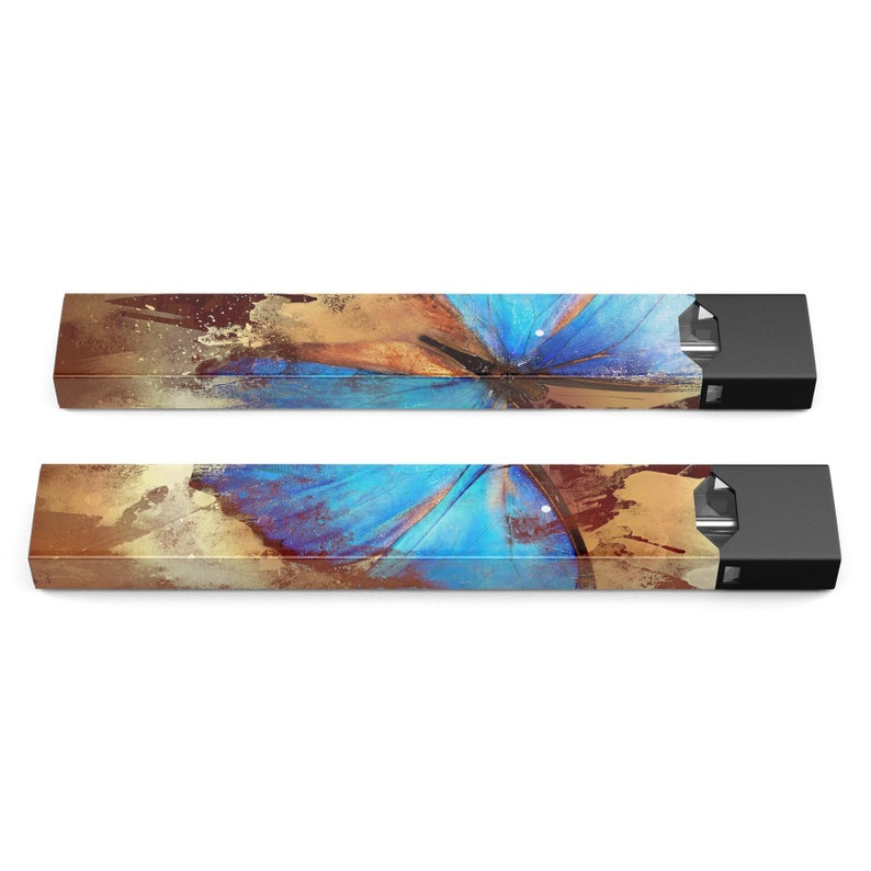 Premium Skin Wrap Decal for the PAX JUUL Protective Sticker Accessory Device Not Included Bright Blue Butterfly on Grunge Gold Surface