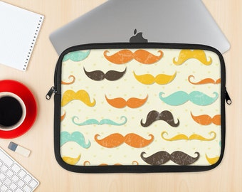 The Vintage Colorful Mustaches Dye-Sublimated NeoPrene MacBook Laptop Sleeve Carrying Case