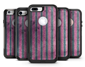 Vintage Green and Purple Vertical Stripes - OtterBox Case Skin-Kit for the iPhone, Galaxy & More