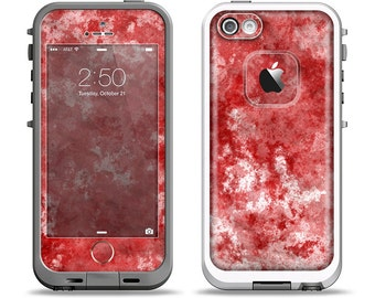 The Red Splotted Paint Texture Apple iPhone LifeProof Case Skin Set