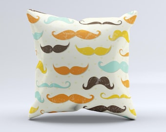 The Vintage Colorful Mustaches ink-Fuzed Decorative Throw Pillow