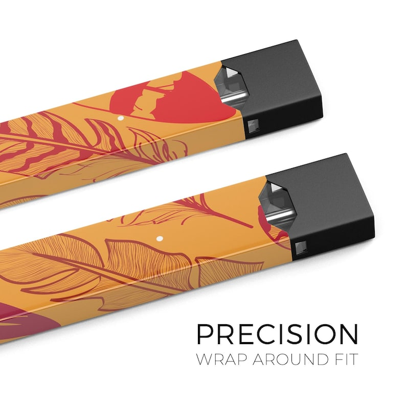 Premium Skin Wrap Decal for the PAX JUUL Orange and Red Vector Feathers Protective Sticker Accessory Device Not Included