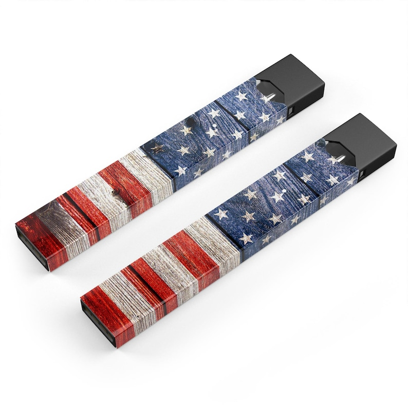 Device Not Included Premium Skin Wrap Decal for the PAX JUUL Protective Sticker Accessory Wooden Grungy American Flag