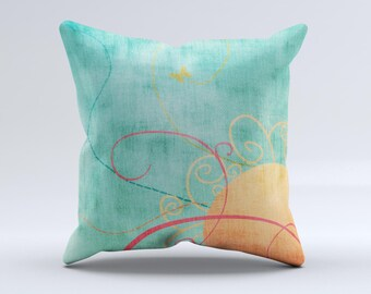 Vintage Green Grunge Texture with Orange ink-Fuzed Decorative Throw Pillow