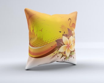 Coral Colored Floral Pelical ink-Fuzed Decorative Throw Pillow