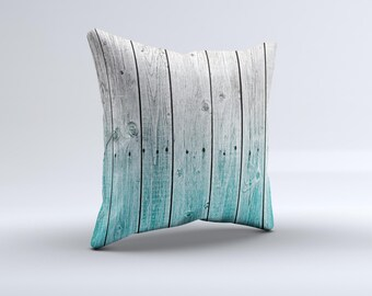 Trendy Teal to White Aged Wood Planks ink-Fuzed Decorative Throw Pillow