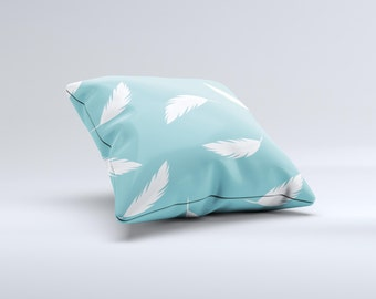 The Simple White Feathered Blue ink-Fuzed Decorative Throw Pillow