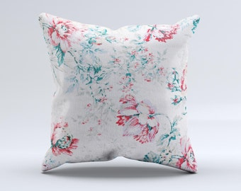 The Coral & Blue Grunge Watercolor Floral ink-Fuzed Decorative Throw Pillow