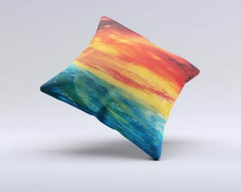 The  Abstract Sunset Painting ink-Fuzed Decorative Throw Pillow