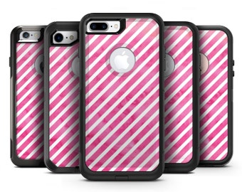 The Pink Watercolor Grunge with Slanted Stripes - OtterBox Case Skin-Kit for the iPhone, Galaxy & More
