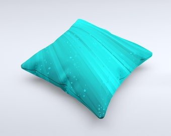 The Glowing Teal Abstract Waves ink-Fuzed Decorative Throw Pillow