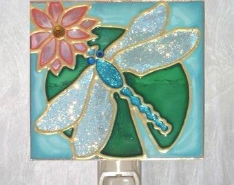 Dragonfly Gifts Blue Dragonfly Night Light Plug In Stained Glass Dragonfly Art Bathroom Decor Dragonfly Wall Decor Art Aqua Nightlight