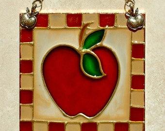 Autumn Apple Decor Art, Country Apple Kitchen Decor Stained Glass Panel Apple Suncatcher Wall Art Apple Wall Hanging Apple Ornament