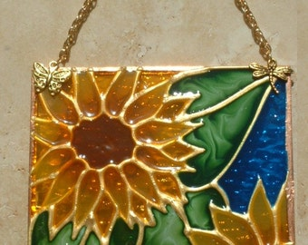 Sunflower Decor Stained Glass Sunflower Suncatcher Stained Glass Suncatcher Flower Stained Glass Panel Sunflower Kitchen Sunflower Ornament