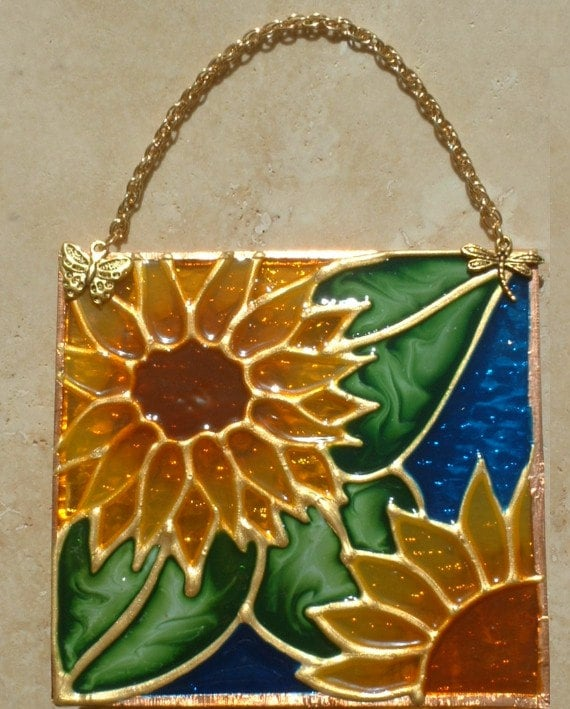 Stained Glass Sunflower Suncatcher and Panel. USA Made Floral Sun Flower Door Ornament. Stain Glass Window Hanging Sun Catcher Kitchen