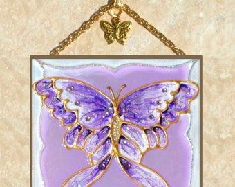 Purple Butterfly Decor, Butterfly Suncatcher, Butterfly Wall Art Butterfly Art Purple Stained Glass Butterfly Wall Decor Stained Glass Panel