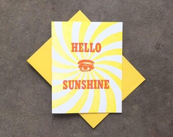 Card- Letterpress, Hello Sunshine