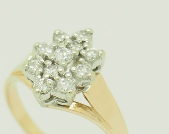 5051890dcb54b7 14K Yellow Gold 0.50ctw G-VS Round Cut Natural Diamond Cluster Cocktail Ring  7 # 5537