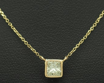 bbe671efc 14K Yellow Gold 0.51ct G-VS1 Princess Cut Floating Diamond Solitaire  Necklace-18