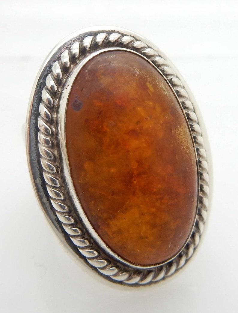 Solid Vintage Sterling Silver925 Oval Baltic Natural Amber Cocktail Ring 6.5;  sku # 4766