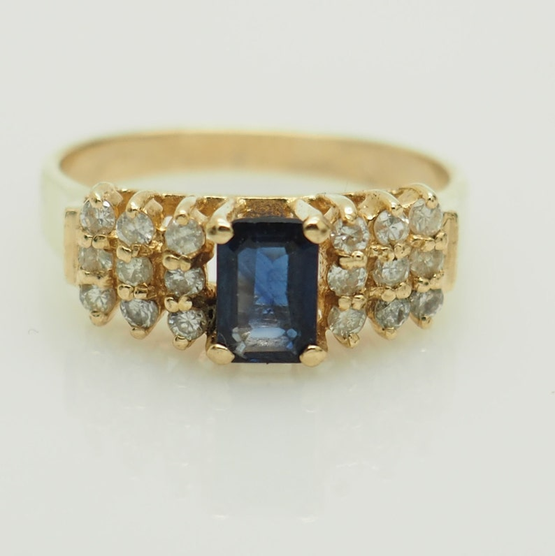 a08859c2f79cd Vintage 14K Yellow Gold 1.00ctw Emerald Cut Sapphire w/Diamond Accents  Cocktail Ring 5.5; # 6221