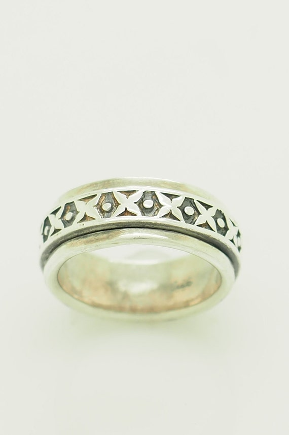 Vintage Solid Sterling Silver925 10mm Wide Wedding Band Ring 7; # 6786