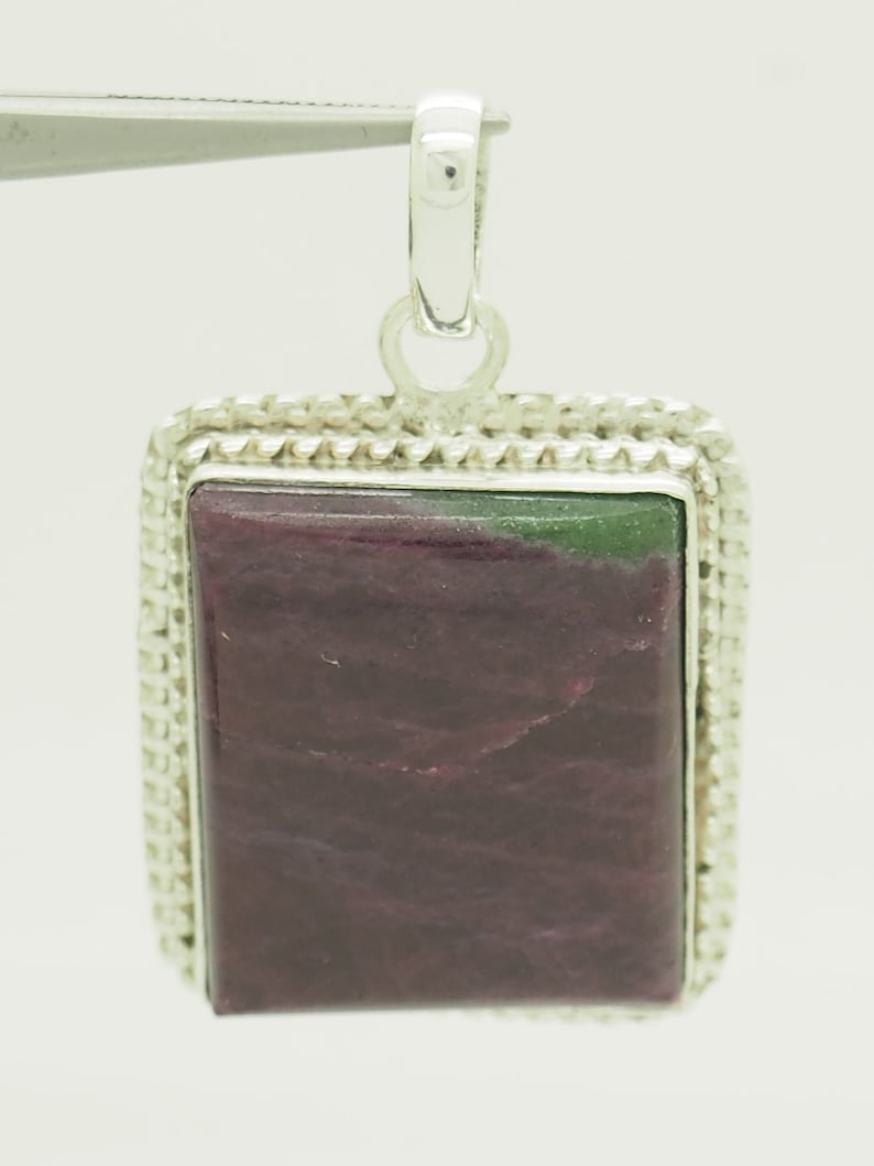 Sterling Silver925 Large Square Polished Natural Ruby Zoisite Dangle Pendant # 3058