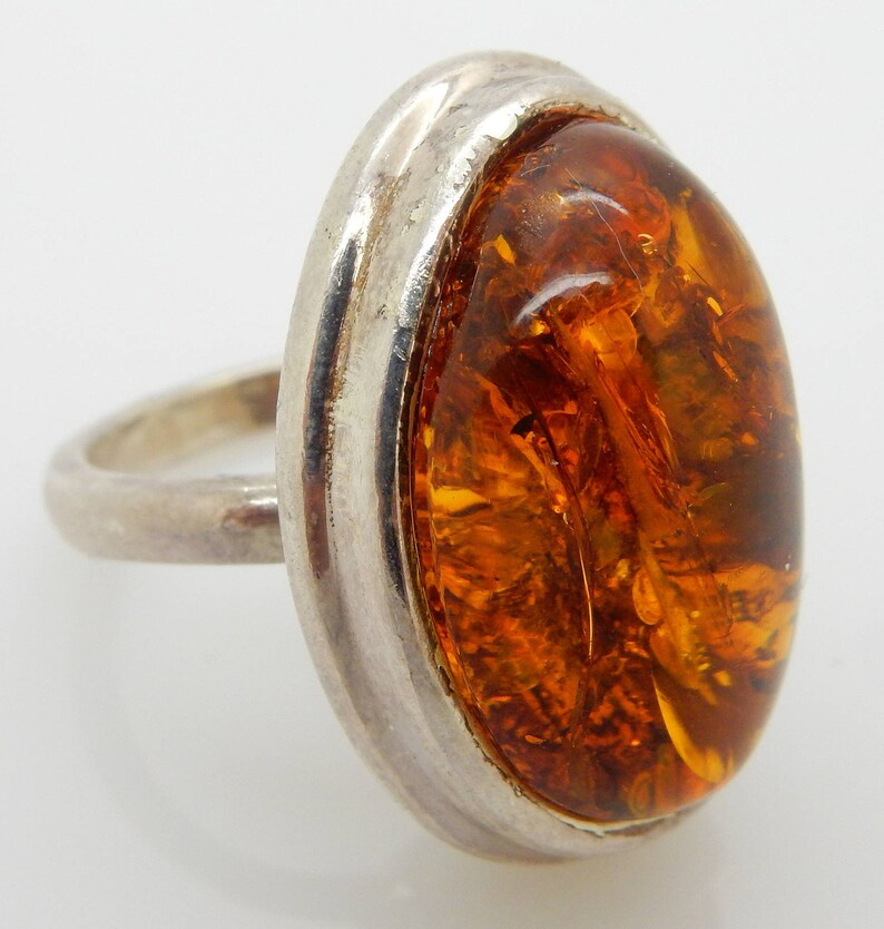 634b9a911adbf Vintage Solid Sterling Silver/925 Natural Oval Baltic Amber Cocktail Ring;  Sz 8.75; sku # 4097