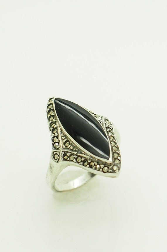 Sterling Silver Ring Marquise Black Onyx Stone 6654/ONY/R Fine Gemstone Rings Fine Rings